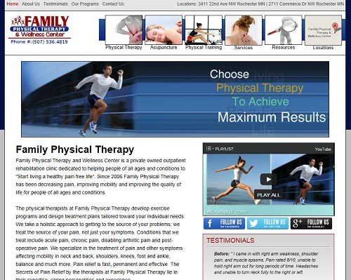 family physical therapy website project
